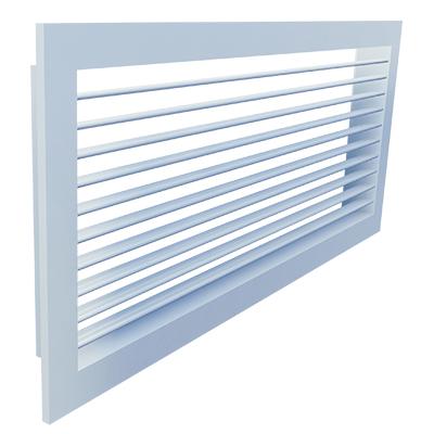 Aluminium Gitter für Wandeinbau mit frontseitig waagerechten verstellbaren Lamellen