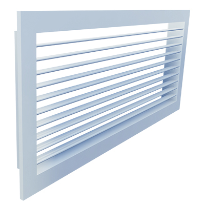 Aluminium wall grille with adjustable vanes
