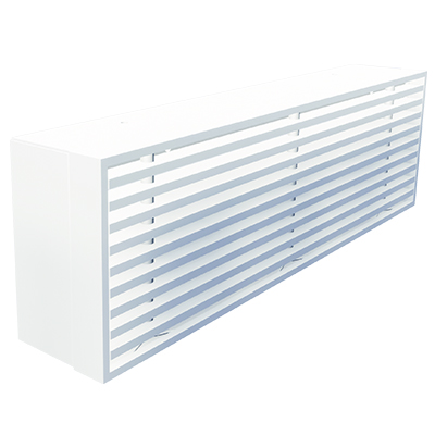 Aluminium bar grille for wall mounting without flange